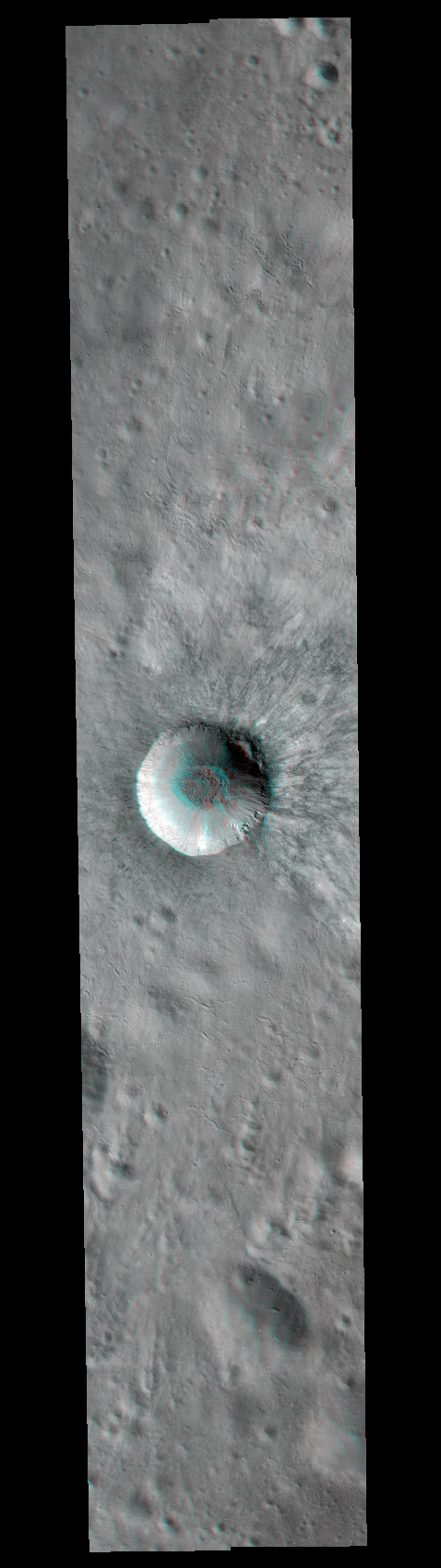 3D anaglyph of Hell Q crater (NASA/GSFC/Arizona State University)