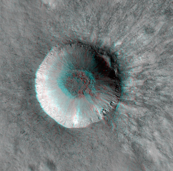 Red/cyan anaglyph of Hell Q crater on the Moon's near side  (NASA/GSFC/Arizona State University)