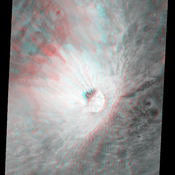 A small crater on the rim of the larger Darwin C crater (NASA/GSFC/Arizona State University)