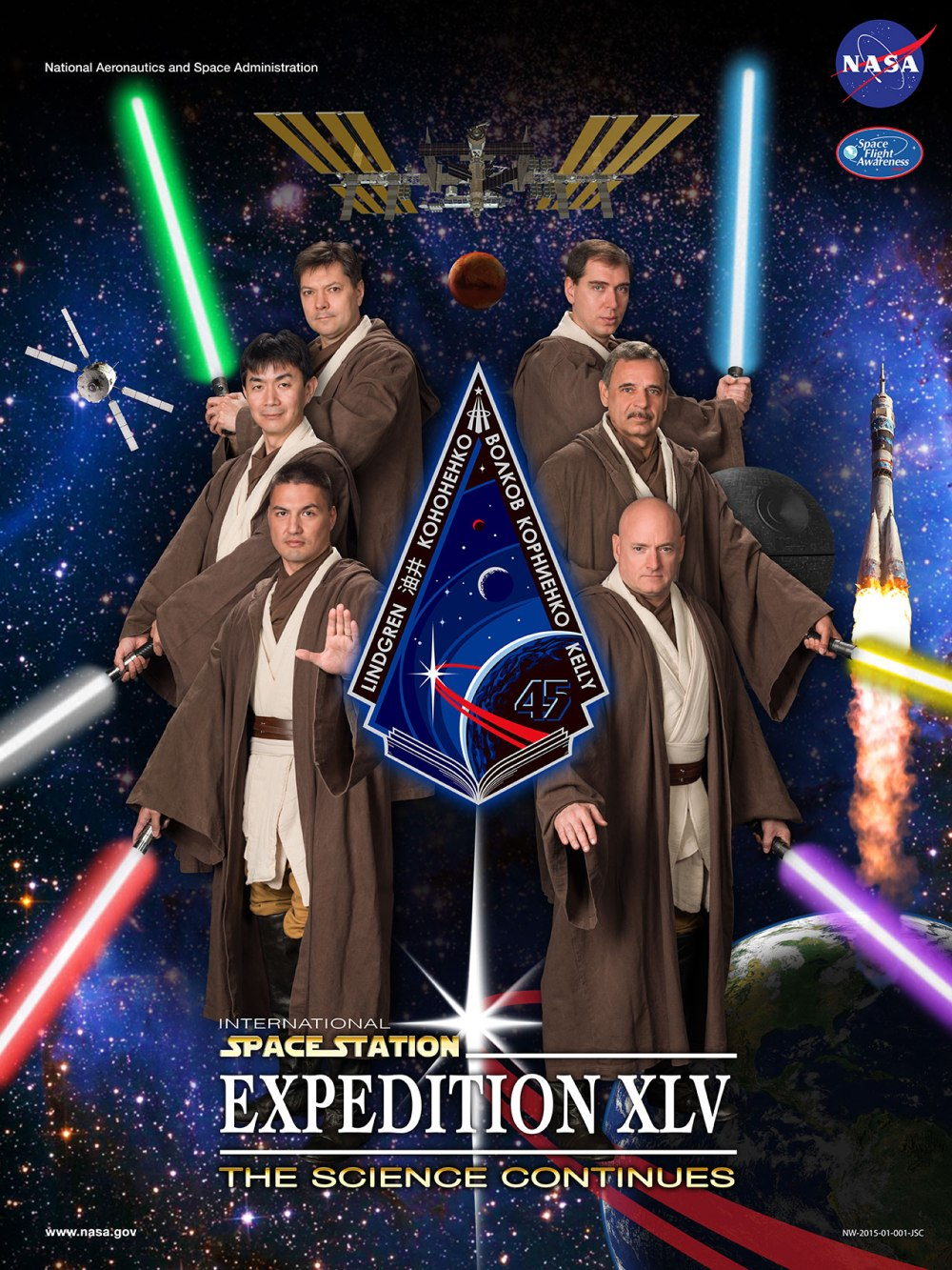 The Expedition 45 team poster has astronauts and cosmonauts trading flight suits for Jedi robes.
