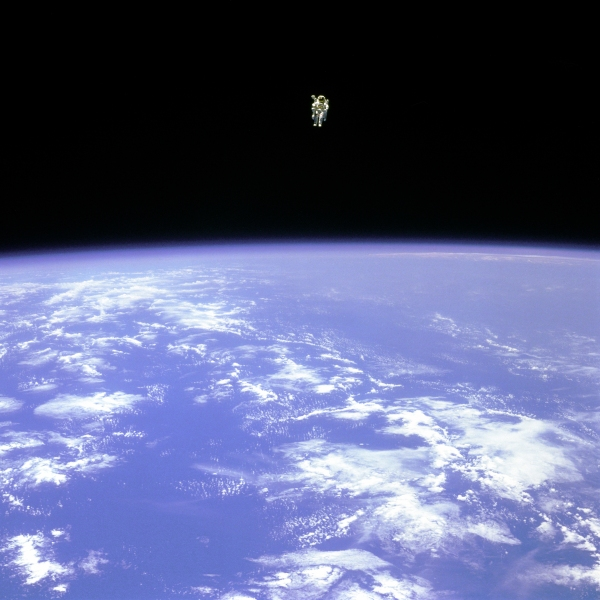 NASA astronaut Bruce McCandless II during his flight test of the Manned Maneuvering Unit (MMU) in  February 1984 (NASA)