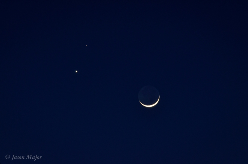 Conjunction of the Moon, Venus, and Mars on Feb. 20, 2015. © Jason Major.