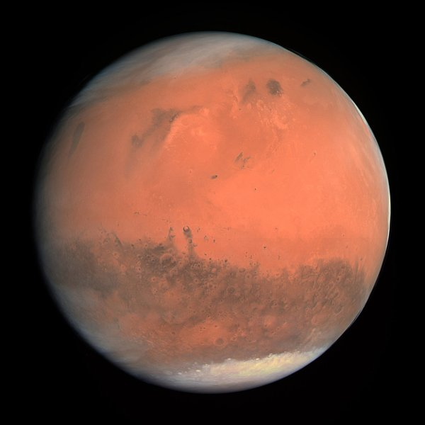 True-color OSIRIS image of Mars captured from Rosetta on Feb. 24, 2007. Credits: ESA © 2007 MPS for OSIRIS Team MPS/UPD/ LAM/IAA/ RSSD/ INTA/ UPM/ DASP/ IDA.