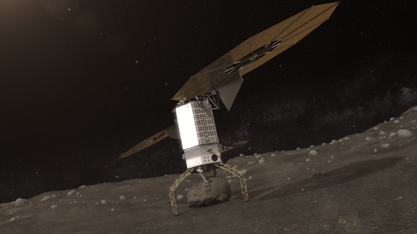 Rendering of NASA's Asteroid Redirect Vehicle with a boulder in its grip. (NASA)