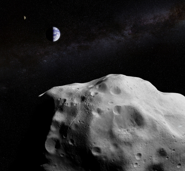 Concept image of a large asteroid passing by Earth and the Moon
