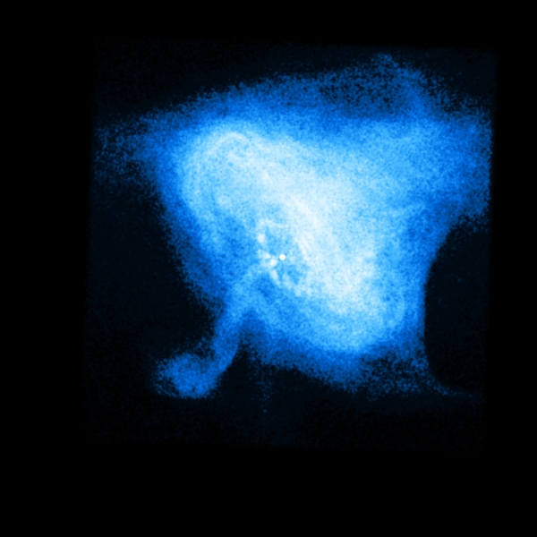 Image of the neutron star inside the Crab Nebula, acquired by NASA's Chandra X-ray Observatory. Click for more info.