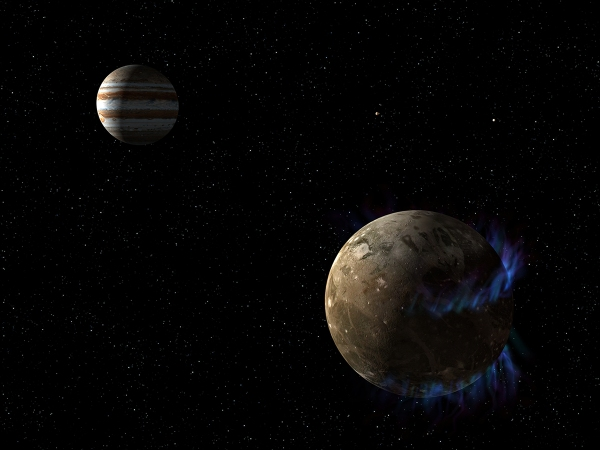 Illustration of Ganymede's auroral ovals, the stability of which hint at a global underground ocean. Credit: NASA, ESA, and G. Bacon (STScI).