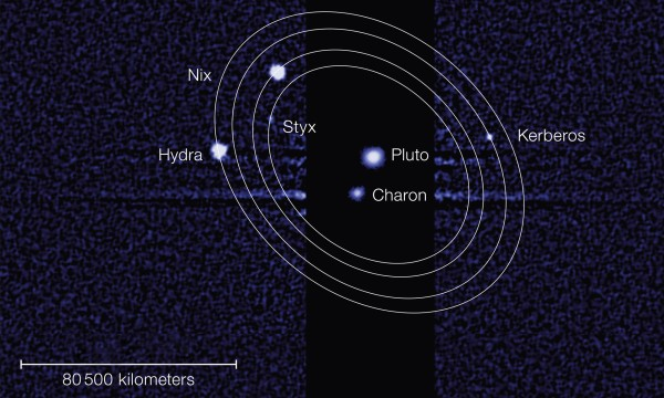 Hubble image of Pluto's system of moons. (HST/NASA/ESA and M. Showalter)