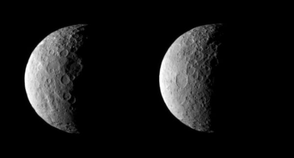 Images of dwarf planet Ceres taken from about 25,000 miles (40,000 km) on Feb. 25, 2015.