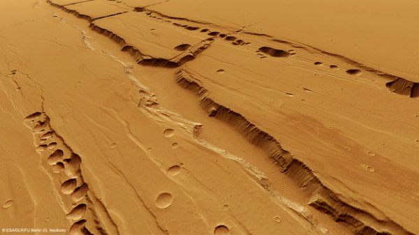 Perspective view of pit-chains on Mars via ESA's Mars Express. Credit: ESA/DLR/FU Berlin (G. Neukum)