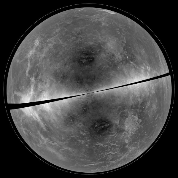 Radar map of Venus' surface made from signals sent from Puerto Rico and received in West Virginia (NRAO)
