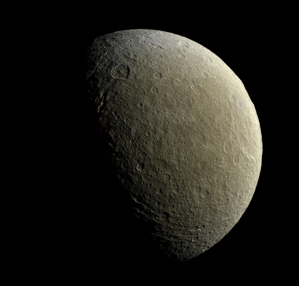 Composite image of Saturn's moon Rhea from Feb. 9, 2015. Credit: NASA/JPL-Caltech/SSI.