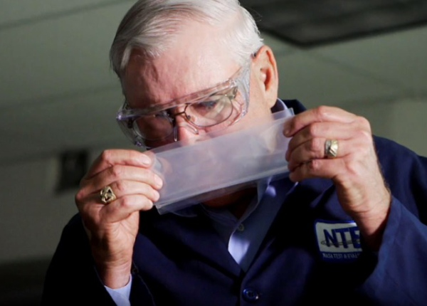 "Chemical Specialist George Aldrich is NASA's ""master sniffer"" (yes, that's a thing.) Credit: Science Channel"