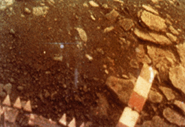 Color image data sent from the surface of Venus by the Soviet Venera-13 lander (Credit: NASA history office)