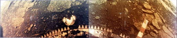 Color image from the surface of Venus captured by Venera-13 on March 1, 1982.