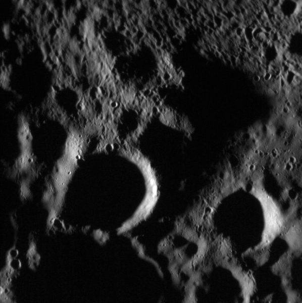 Secondary impact cratering creates complex surface patterns in this image acquired by MESSENGER on April 16, 2015.