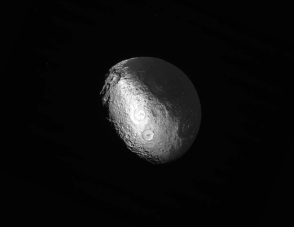Saturn's moon Iapetus, imaged by Cassini on March 31, 2015 (NASA/JPL-Caltech/SSI)