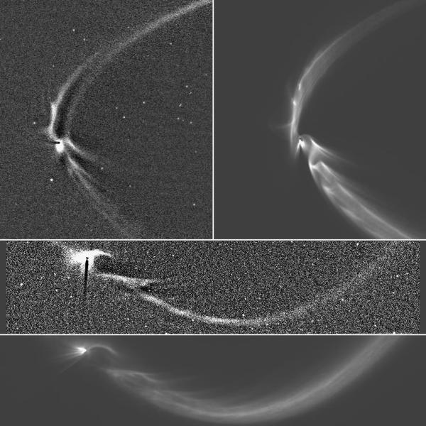 Cassini images of Enceladus in the E ring (top left, upper center) and computer-generated models of the same scenes. Views from 2006 and 2013, respectively. (NASA/JPL-Caltech/Space Science Institute)