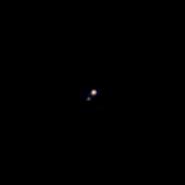 Pluto and Charon imaged by New Horizons on April 9, 2015