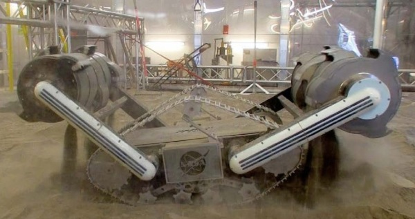 The RASSOR (Regolith Advanced Surface Systems Operations Robot) in development at NASA's Swamp Works at KSC. One day robots like this may be doing our digging on the Moon or Mars.
