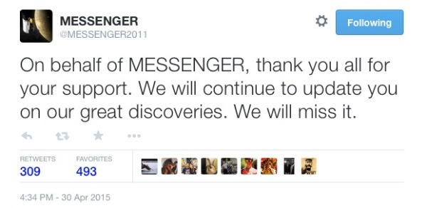 Tweet from the @MESSENGER2011 account on Twitter after impact.