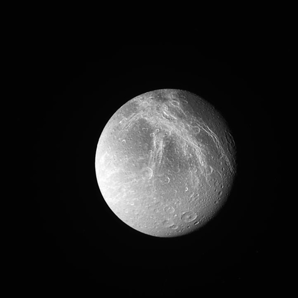 Saturn's 700-mile-wide moon Dione on May 9, 2015