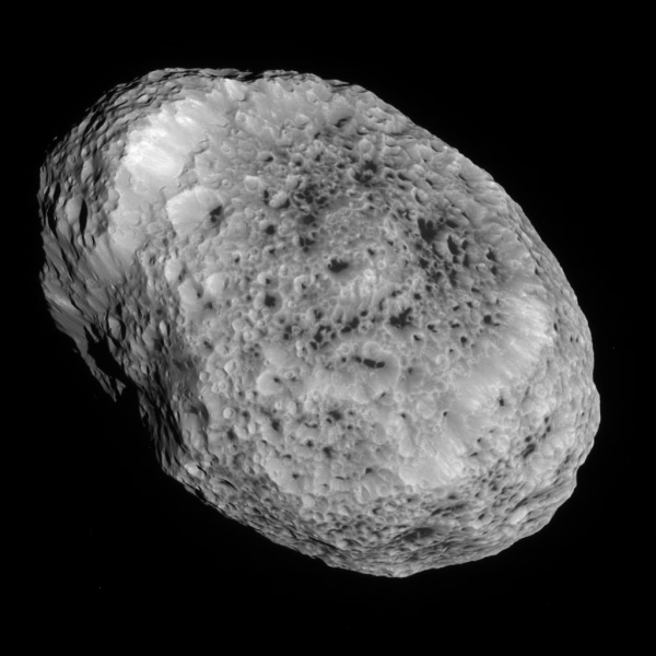 Hyperion on May 31, 2015 (NASA/JPL-Caltech/SSI. Edited by Jason Major.)