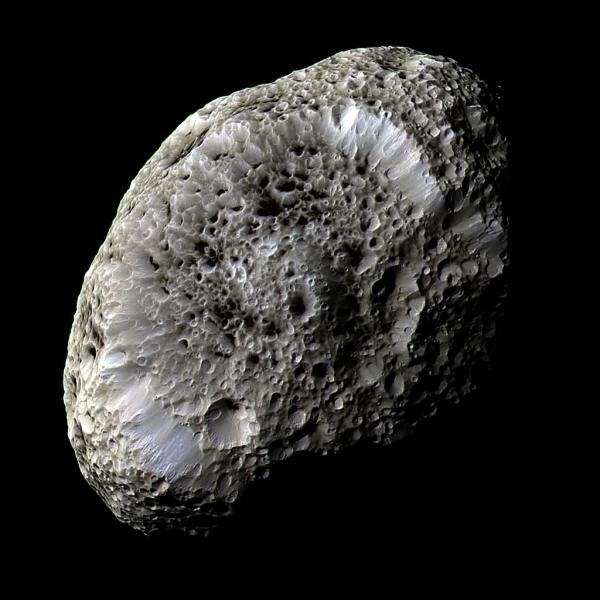 Mosaic of Hyperion from Cassini images acquired Sept. 26, 2005. (NASA/JPL/SSI)