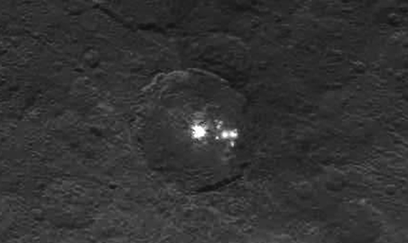 Enhanced Detail Of The Bright Region On Ceres Credit NASA JPL