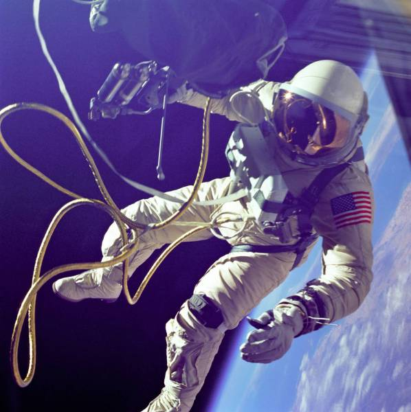 Ed White on the first American spacewalk on June 3, 1965. (NASA)