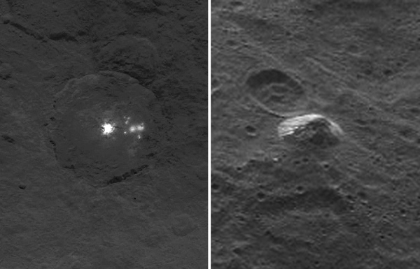 Ceres' bright spots (left) and a new mountain feature (right) imaged by Dawn in June 2015. Credits: NASA/JPL-Caltech/UCLA/MPS/DLR/IDA