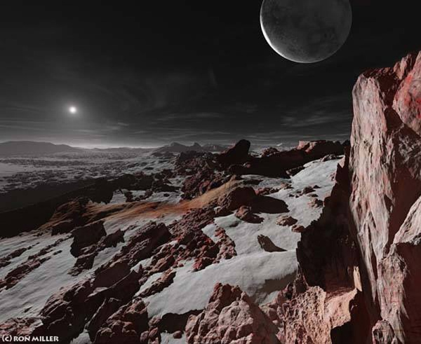 Concept of Pluto's surface. © Ron Miller, used with permission.