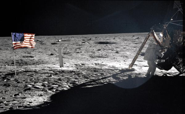 Panorama from Apollo 11 showing Neil Armstrong at the LM Eagle (NASA)