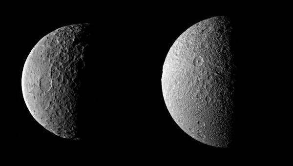 Ceres (left, Dawn image) compared to Tethys (right, Cassini image) at comparative scale sizes. (Credits: NASA/JPL-Caltech/UCLA/MPS/DLR/IDA and NASA/JPL-Caltech/SSI. Comparison by J. Major.)