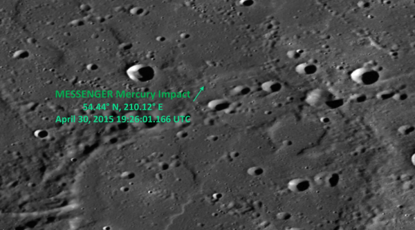 MESSENGER's impact site. (NASA/Johns Hopkins University Applied Physics Laboratory/Carnegie Institution of Washington)