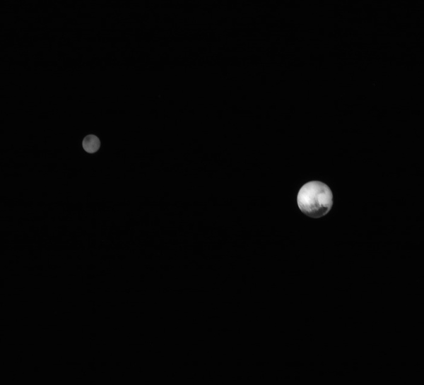 Pluto and Charon from 7.8 million km (4.5 million miles) on July 7, 2015. (Credit: NASA/Johns Hopkins University Applied Physics Laboratory/Southwest Research Institute. Edited by J. Major.)
