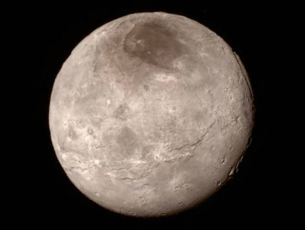 Pluto's moon Charon, imaged by New Horizons on July 14, 2015. Credit: NASA/Johns Hopkins University Applied Physics Laboratory/Southwest Research Institute.