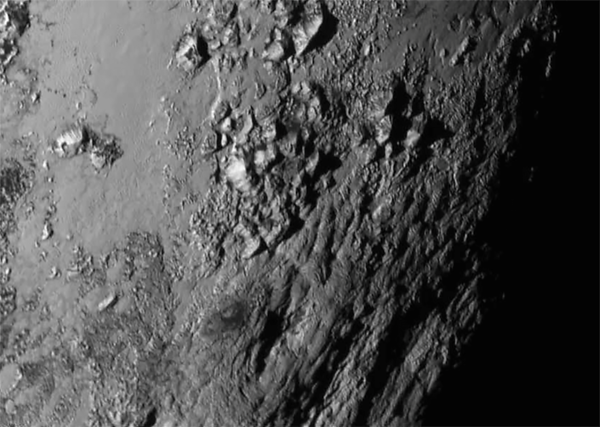 Pluto's Norgay Montes, 3500-meter-high ice mountains south of the Tombaugh Regio