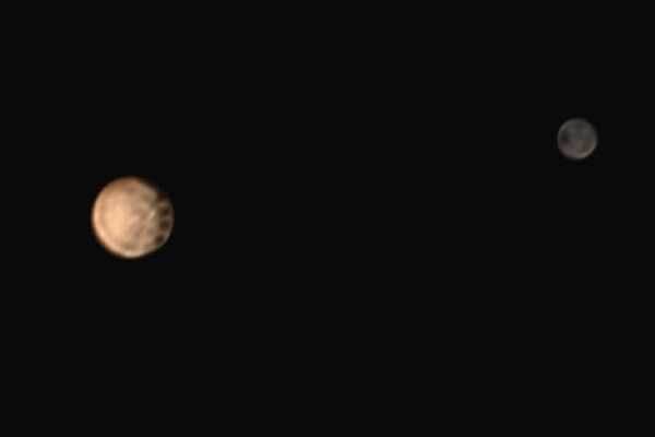 Color image of Pluto and Charon from June 27, 2015 (NASA/Johns Hopkins University Applied Physics Laboratory/Southwest Research Institute)