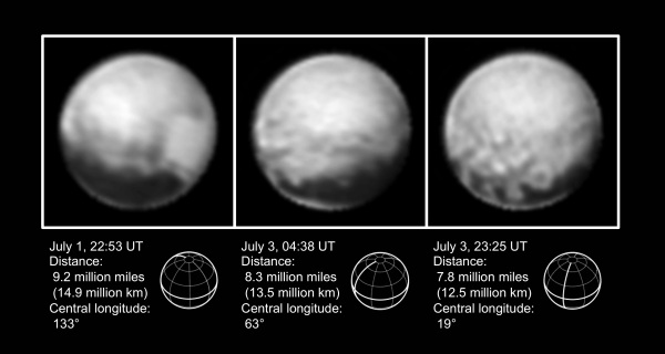 Images of Pluto obtained by New Horizons on July 1-3, 2015