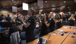 The New Horizons team at Johns Hopkins APL when the image above was revealed. (NASA TV)