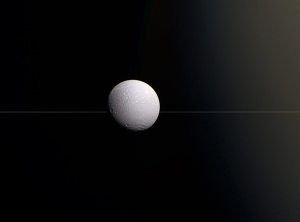 Color-composite of Dione from Aug. 17, 2015. NASA/JPL-Caltech/Jason Major.