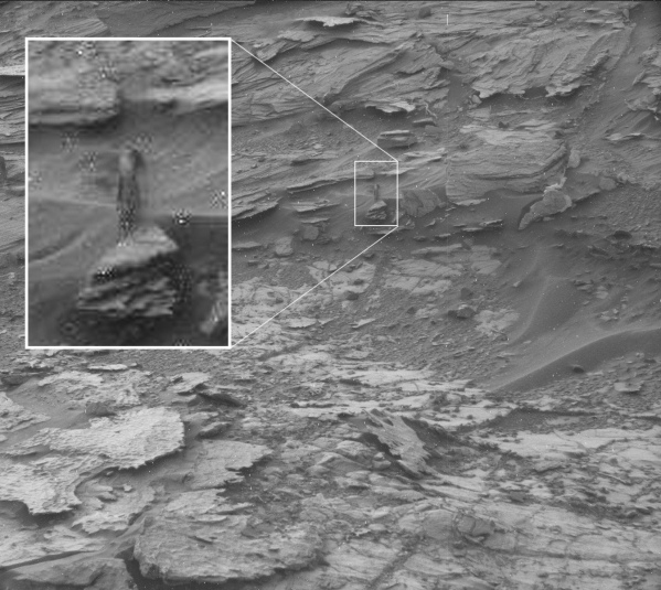 This is a stretch even for pareidolia: this outcrop in a Mastcam image from Sol 1001 is claimed to look like a woman. (NASA/JPL-Caltech/MSSS)