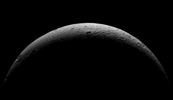 Cassini's parting view of Dione's crescent, made from five images acquired from 37,000 miles (59,000 km) to 47,000 miles (75,000 km) away on Aug. 17, 2015.