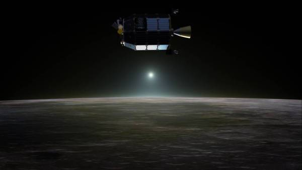 Illustration of NASA's LADEE spacecraft, which has already impacted the Moon's surface (NASA/GSFC)