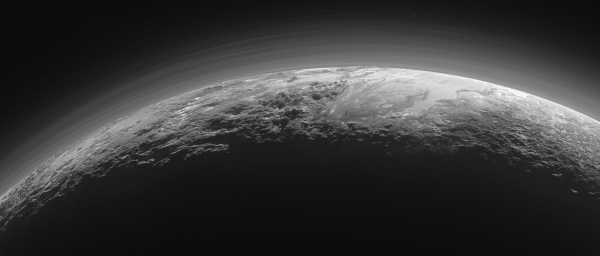A backlit, haze-covered Pluto imaged by New Horizons on July 14, 2015, from a distance of 11,000 miles (18,000 km). CLICK FOR FULL SIZE. Credit: NASA/JHUAPL/SwRI.