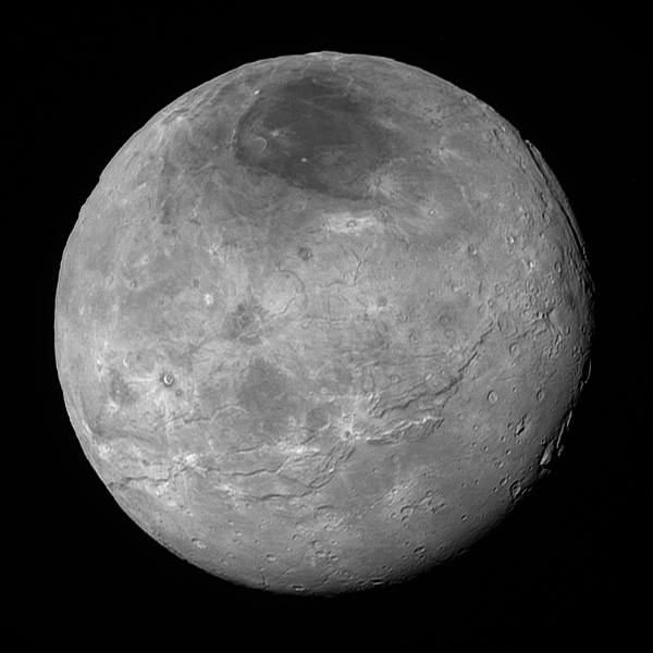 Pluto's largest moon Charon imaged on July 14, 2015 from about 290,000 miles (470,000 km). NASA/JHUAPL/SwRI.
