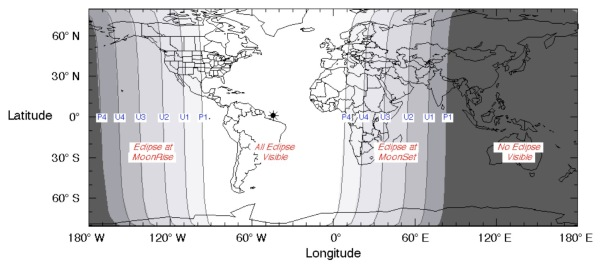 Visibility of the Sept. 27-28 lunar eclipse (NASA/GSFC/F. Espenak)