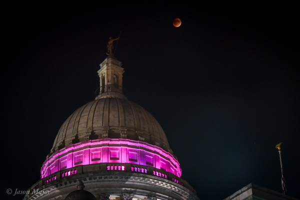 "Sept. 27, 2015 ""Supermoon"" eclipse from the RI State House (© Jason Major)"