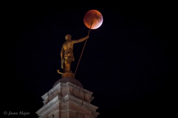 "Sept. 27, 2015 ""Supermoon"" eclipse from the RI State House with the 11-foot-tall Independent Man statue (© Jason Major)"